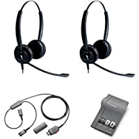 XS 825 Duo Headset Training Bundle | Headsets, M22 Digital Headser Adapter, Y-Training Splitter Cord #27019-03 (with Mute button) | Use for Coaching, Supervising, Training, Monitoring
