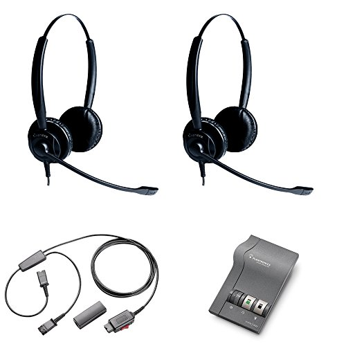 (XS 825 Duo Headset Training Bundle | Headsets, M22 Digital Headser Adapter, Y-Training Splitter Cord #27019-03 (with Mute Button) | Use for Coaching, Supervising, Training, Monitoring)