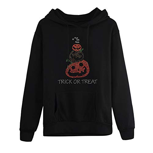 MEEYA Women Plus Size Sweatshirt for Halloween 2019, Long Sleeve Pocket Hooded Neck Blouse Tops Black