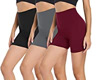 """Gayhay 3 Pack Biker Shorts for Women – 5"""" High Waisted Tummy Control Soft Workout Shorts for Yoga Athletic Run"""