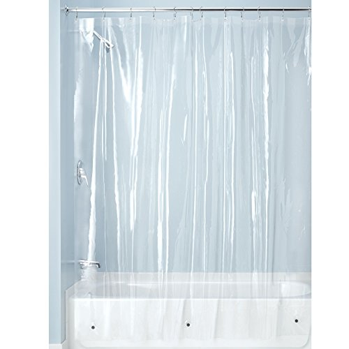 (InterDesign PEVA Plastic Shower Bath Liner, Mold and Mildew Resistant for use Alone or with Fabric Curtain for Master, Kid's, Guest Bathroom, 72 x 72 Inches, Clear)