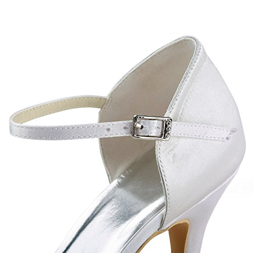 Heel Pumps Shoes Formal 7cm Evening Satin strap Single Zioso Party Women's White Wedding TMZ340 Bridal p416v6