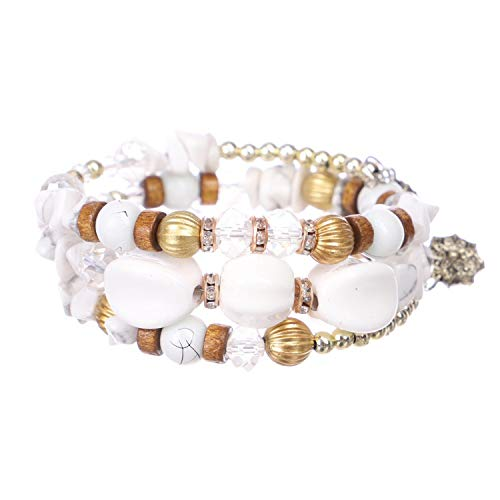 OASIS LAND Retro Jewelry Bohemian Alloy Imitation Natural Stone Beaded Multi-Layer Winding Bracelet Female Jewelry ()