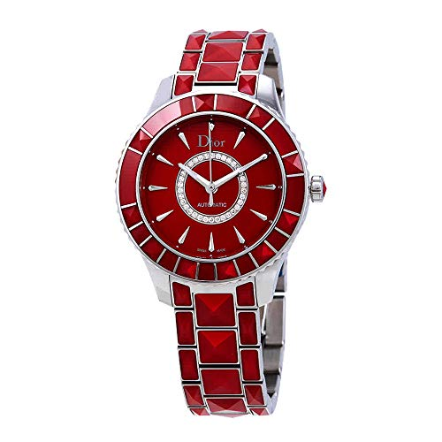 Christian Dior Christal Women's Steel Watch Set with Red Sapphire Studs CD144511M001 (Christian Dior Ladies Watch)