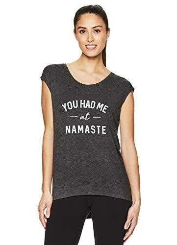 Gaiam Women's Dani Yoga Short Sleeve T-Shirt - Workout Top for Women - Flint Grey Heather, -