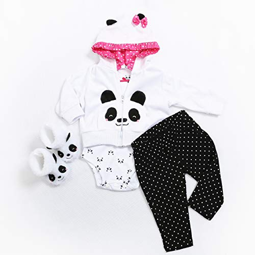 Reborn Baby Doll Clothes for 20- 23 inch Reborn Doll Girl Panda Outfit Accessories 4pcs Reborn Baby Matching Clothes