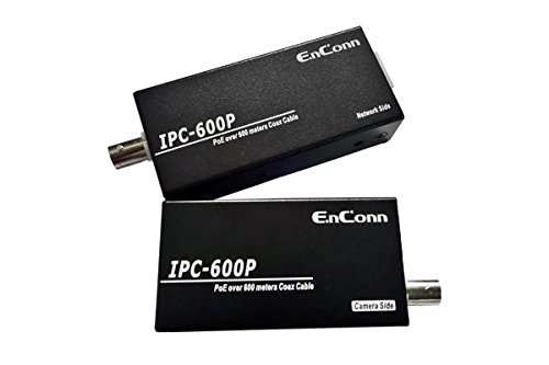 Kenuco PoE Ethernet Extender Set cver Coaxial Cable Transmitting Data and Power up to 2000ft   EOC-IPC-600P by Enconn