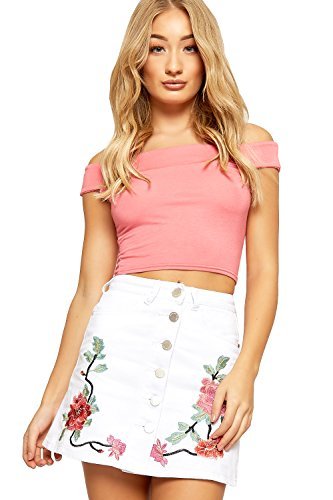 WEARALL Women's Denim Floral Embroidered Button Through Skirt - White - US 4 (UK 8)