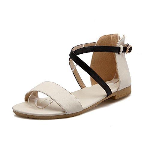 AllhqFashion Womens Low Heels Assorted Color Zipper Soft Material Open Toe Sandals Beige dRGLsgBCc