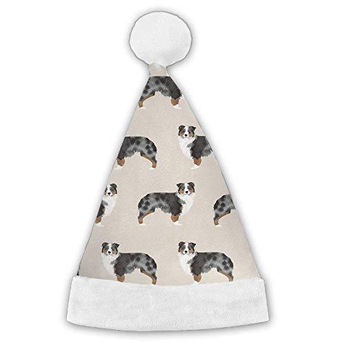 (beiahre Australian Shepherd Xmas Christmas Christmas Santa Hat Holiday Theme Hats 3D Graphic Printed Adults)