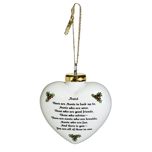 Aunts Who Are Wise Advise Fun White Puffy Heart Porcelain Christmas Ornament