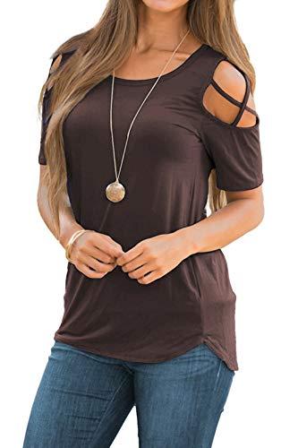 iGENJUN Women Short Sleeve Strappy Cold Shoulder T-Shirt Tops Blouses,XL,Coffee