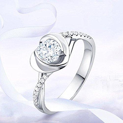Gespout Anelli da Donna alla Moda Argento A Forma di Cuore Diamante Strass Anello Regolabile Apribile Fit Ragazza Femminile