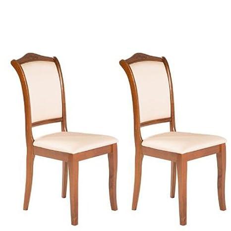 Varie Sedia classica in legno per cucina, sedie 2 pezzi in tessuto ...