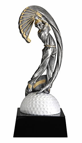 Male Golfing Motion X Resin Trophy - Golf Award - Golfer Recognition - Engraved Plates by Request - Perfect Golf Award Trophy - Made by Heavy Resin Casting - for Recognition - Decade Awards Male Golf Resin Trophy