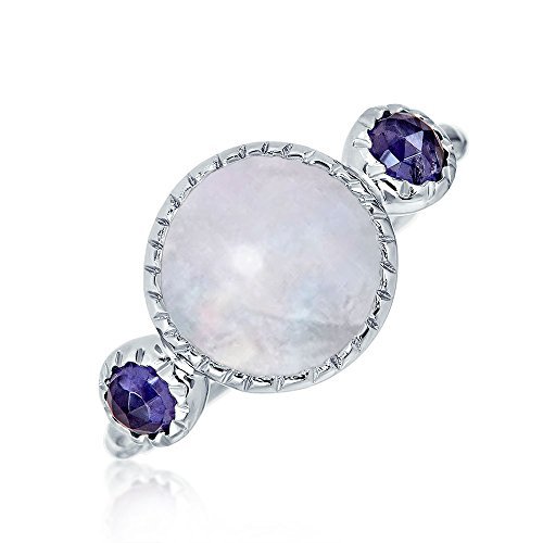- Boho Round Rainbow Moonstone Ring For Women Hammered Band 925 Sterling Silver
