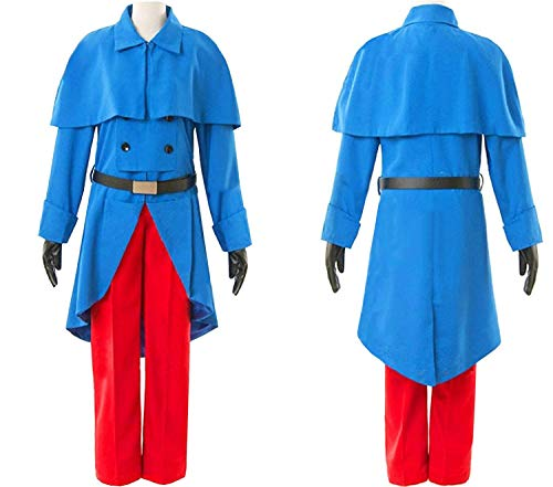 (LYLAS Cosplay Costume Blue Long Coat with Red Pants Uniforms Full Sets)