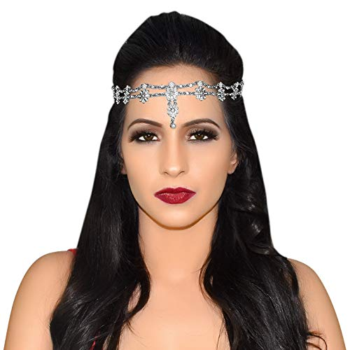 (Gypsy Costume Fortune Teller Headpiece Hair Jewelry Scarf Antique Rhinestone Crystal Silver-tone Belly Dancer Genie Fashion Prom Indian Bridal Wedding Dress Festival Head And Hand Chain Rings Boho)