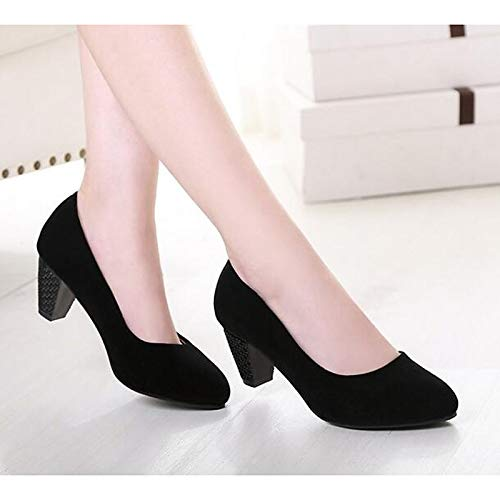 ZHZNVX Zapatos de Mujer Suede Fall Basic Pump Heels Stiletto Heel Black/Red Black