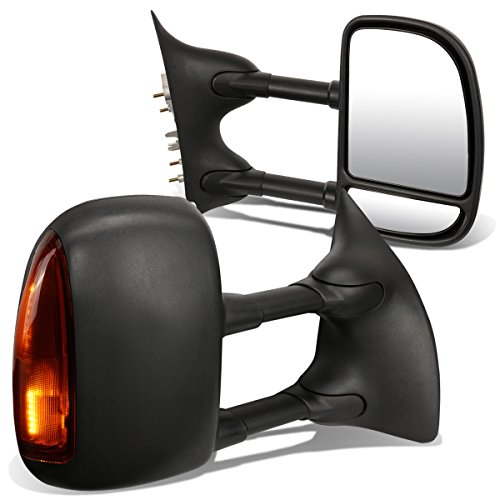 For Ford Super Duty Pair of Black Textured Telescoping Manual Extendable + Amber Signal Side Towing Mirror