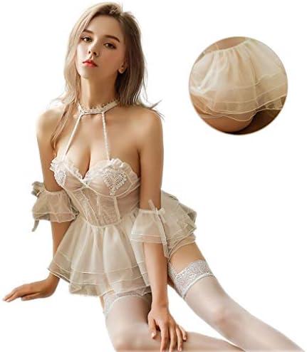 【5点セット】ウェディングドレス コスプレ セクシー ロマンチックなウェディングドレス コスチューム セクシー ランジェリー フリーサイズ 5点セット(ベールカチューシャ・スカート・アームバンド* 2・Tパンツ)(ホワイト)