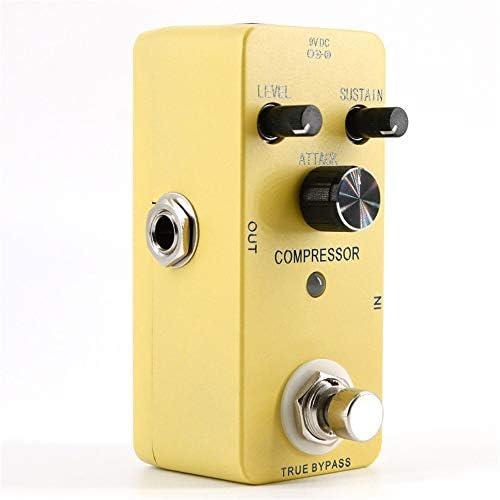 ギターエフェクター アダプターの金属の箱の圧縮機のペダルが付いている小型圧縮機のギターの効果のペダル ディストーション (Color : Yellow, Size : Free size)