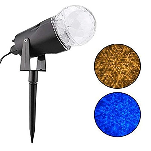 YMING Kaleidoscope Spotlight Rotating Projection Light, Outdoor Christmas Halloween Light Show Crystal Ball Light Waterproof for Garden Party Disco Landscape, Blue and White by YMing