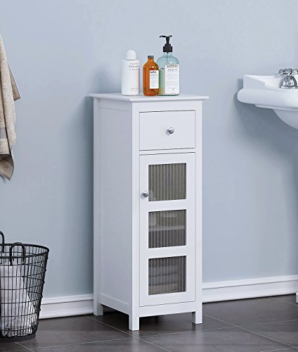 SPIRICH Bathroom Storage Floor Cabinet, Bathroom Cabinet Free Standing with Single Drawer and Adjustable Shelf (Espresso) (White)