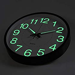 OCEST Wall Clock, 10 Inch Silent Non-Ticking Quartz Wall Clock with Night Light Large Display Battery Operated for Indoor Kitchen Office Patio Pool Bathroom Living Room