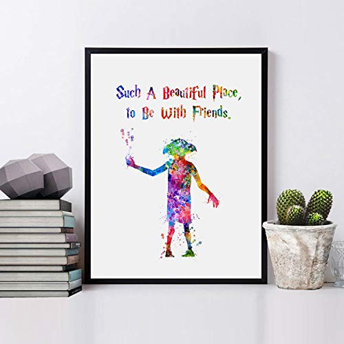 Harry Border Potter - Harry Potter Quotes Poster Watercolor Dobby Nursery Art Gift Decor Painting Color Kids Bedroom Decor 8x10inch No Frame