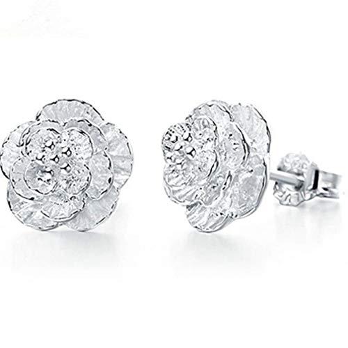 Yunzee Cherry Blossom Earrings Flower Shape Simplified Ear Studs Minimalist Wedding Flower Ear Dangle Decoration Earrings