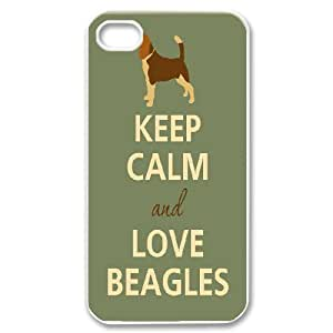 IPhone 4/4s Cases Keep Calm And Love Beagles For Teen Girls Protective, Phone Case For Iphone 4s For Women For Teen Girls Protective [White]BY autodiy