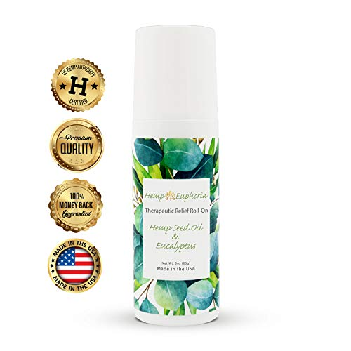 Muse Roller Ball - Hemp Seed Oil and Eucalyptus Joint & Muscle Pain Relief Roll-On Gel by Hemp Euphoria