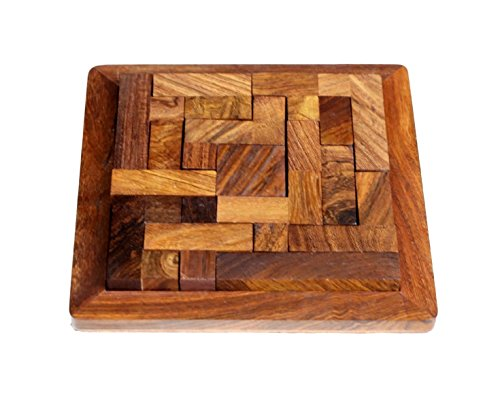 ShalinIndia Handmade Indian Wood Jigsaw Puzzle Pentameno Square - Wooden Toys for Kids - 5 Inch Travel Games for Families - Unique Gifts for Children