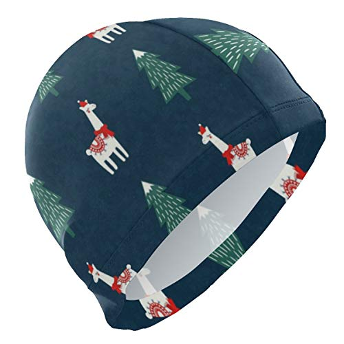Loveful Personalized Cute Lama Chrsitmas Tree Swim Cap Elastic and Durable Swimming Cap Lightweight Bathing Hat for Adults Men Youths - Keep Hair Clean and Dry -