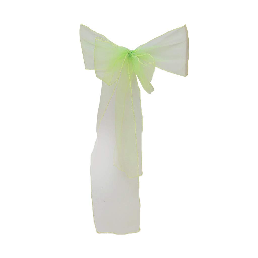 Hohaski Solid Color Flower Chair Back Band Covers, Organza Chair Sashes Bow Sash for Wedding and Events Supplies Party Decoration Chair Cover Sash (Green)