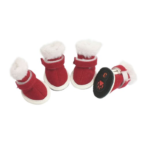Como Dog Pets White Plush Red Faux Suede Christmas Boots Warm Shoes Size 3, My Pet Supplies