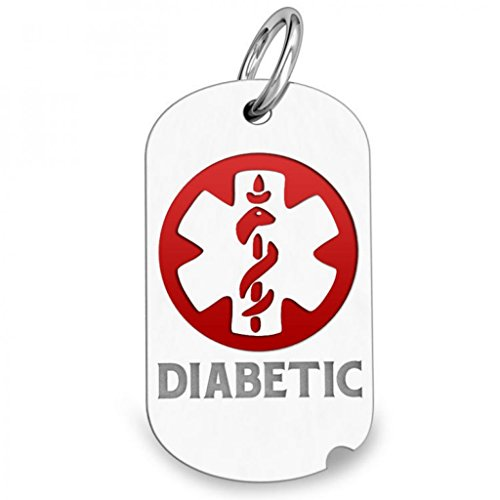 Sterling Silver Dog Tag Diabetic ID Charm or Pendant W/ Red - 3/4 Inch X 1-1/4 Inch (Pendant Dog Charm Silver Tag)