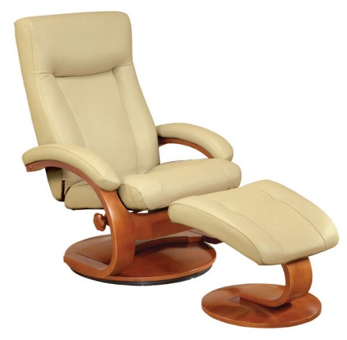 Mac Motion Oslo Collection Recliner with Matching Ottoman in Cobblestone Top Grain Leather with Walnut Frame For Sale