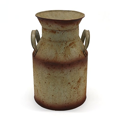 CVHOMEDECO. Galvanized Metal Milk Can, Old Rustic Primitives Jug Vase for Home and Garden Décor. 6-1/8