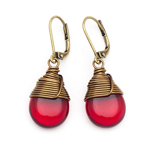 Red Czech glass wire-wrapped drop antique bronze tone lever-back earrings -