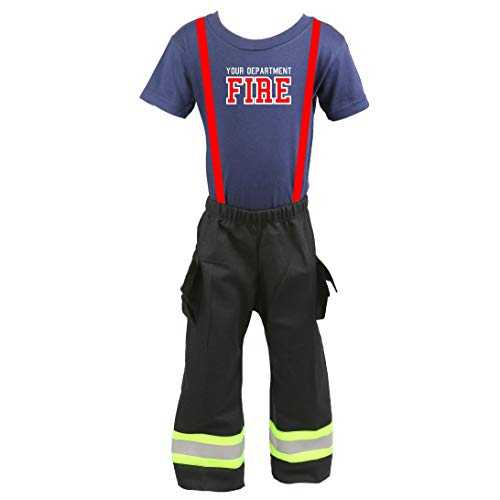 Fully Involved Stitching Firefighter Personalized Black 2-Piece Toddler Outfit (2T)