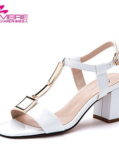 Leather MeiRieS Heels White White Chunky Open Sandals Toe Yellow Heel Gray Shoes Womens Faux ShangYi Casual Leatherette qf8wHfId