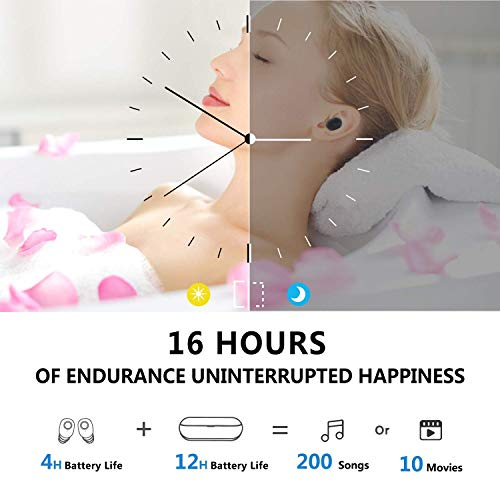 Bluetooth Headset Wireless Earbuds Sports Headphones with Charging Case Mini Size HD Stereo in-Ear Noise Canceling Earphones with Mic for Phone iOS Android Smart Phone-Q (white-66)