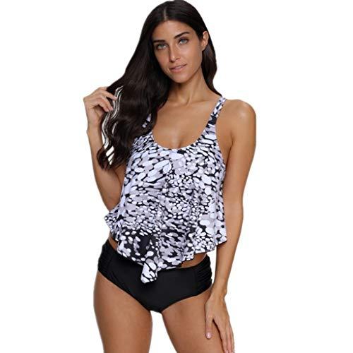 kaifongfu Plus Size Women Floral Print Swimwear Two Pieces Floral Print Bathing Tankini Swimdress Bikini Set(White,XXL
