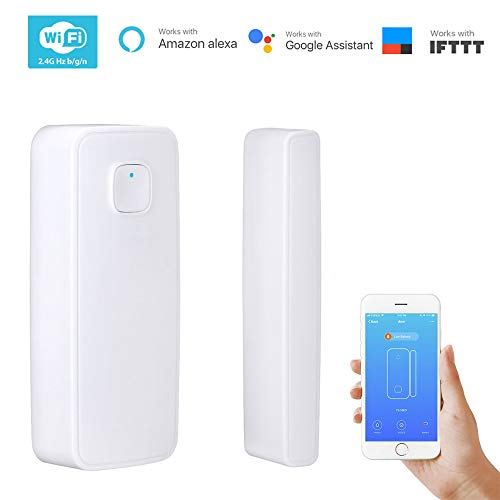 TAOPE WiFi Smart Door Window Sensor Smartthings with APP Remote Wireless Security Alarm Magnetic Contact Sensor