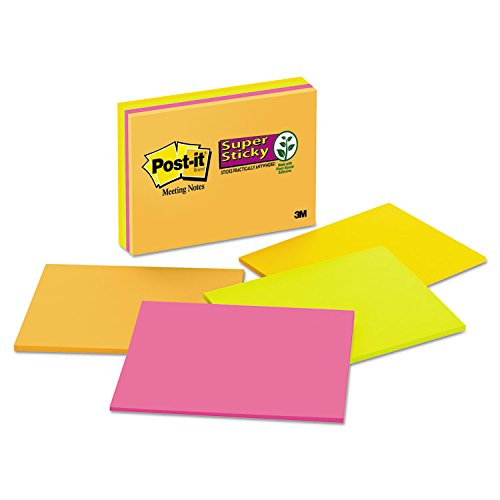 Post-it 6845SSP Super Sticky Meeting Notes in Rio de Janeiro Colors, 8 x 6, 45-Sheet, 4/Pack