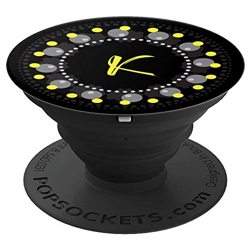 K Initial Monogram Yellow Black Script Capital Letter - PopSockets Grip and Stand for Phones and Tablets ()