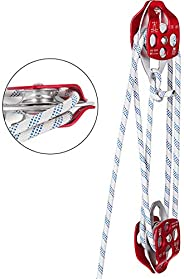 Mophorn Twin Sheave Block and Tackle 7/16-1/2 Inch 100-200 Feet Twin Sheave Block with Braid Rope 30-35KN 6600