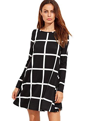 SheIn Women's Grid Check Print Long Sleeve Swing Dress Large Black